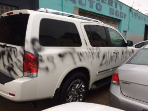 A woman's car was also vandalized in Philly with racist graffitti