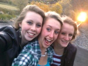 Kelsea Webster, Essa Ricker and Savannah Webster (l-r) were killed moments after shooting this selfie by the train right behind them